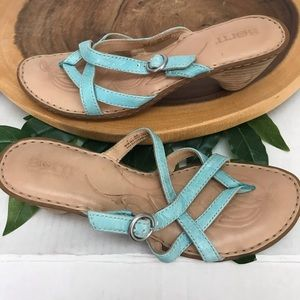 Born Multi Strap Stacked Heel Slides Sandals